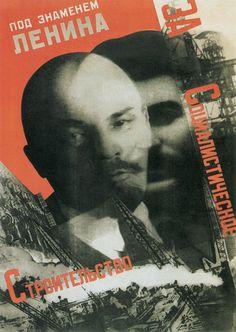 """Cartaz: """"Construindo o socialismo sob a bandeira de Lênin"""", feito por Gustav Klutsis em 1931"""