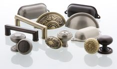 A Cohesive Collection for Cabinets- Brass Cabinet Hardware from Nostalgic Warehouse #brasshardware #cabinethardware #brasspulls #brassknobs #brassdecor #vintagedecor #vintagehardware Brass Cabinet Hardware, Antique Hardware, Classic Cabinets, Antique Stores, Knobs And Pulls, Bathroom Accessories, Vintage Decor, Timeless Design, Warehouse