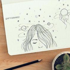 New beautiful art drawings doodles sketch books Ideas Doodle Art, Doodle Drawings, Easy Drawings, Cute Drawings Tumblr, Summer Drawings, Pencil Art Drawings, Drawing Sketches, Sketching, Galaxy Drawings