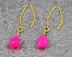 Hot Pink Earrings, Hot Pink Chalcedony Earrings, Pink Chalcedony Earrings, Handmade Ear Wires, Gold Earrings, Gold Hot Pink Earrings by Gemstonique on Etsy https://www.etsy.com/listing/237978961/hot-pink-earrings-hot-pink-chalcedony