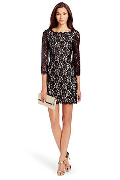 Against contrasting black and nude hues, gorgeous lace details are nothing short of breathtaking. | Get the trend with the DVF Zarita Lace Dress