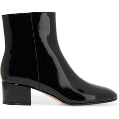 Gianvito Rossi Patent-leather ankle boots (€715) ❤ liked on Polyvore featuring shoes, boots, ankle booties, black, short boots, mid heel booties, black patent boots, black ankle booties and black bootie