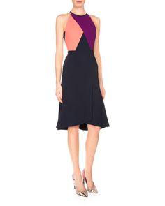 B39BE Roland Mouret Kenard Colorblock Fit-&-Flare Dress, Navy/Coral/Grape