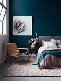 MASTER BEDROOM COLOUR SCHEME  Gorgeous dark blue walls and blush accents