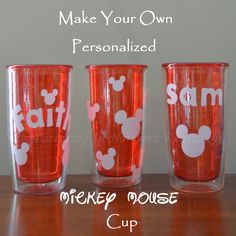 Make Your Own Personalized Mickey Mouse Tumbler Cup - 4 The Love Of Family Disney Vacations, Disney Trips, Walt Disney, Mickey Mouse Cups, Homemade 3d Printer, Plastic Tumblers, Disney Crafts, Tumbler Cups, Projects For Kids