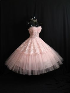 Vintage 1950s 50s Bombshell STRAPLESS Pink Silver Metallic Tulle Circle Skirt Party Prom Wedding Dress Gown. $599.99, via Etsy.