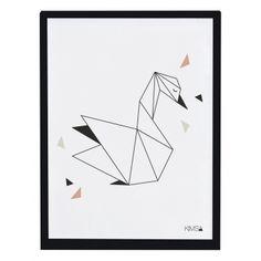 Kinderzimmerbild \'Origami-Schwan\' schwarz/weiß 30x40cm
