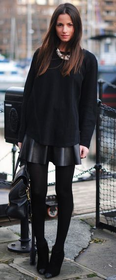 Black leather skirt with loose knit. Wish I was slim enough to wear this outfit!