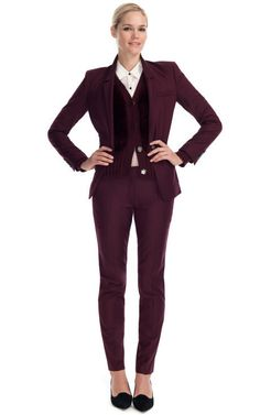 Burgundy is the new the color for fall. They say it is the new black. Burgundy garments were all over the runways. From  collections such as YSL, Missoni, Proenza Schouler, and Elizabeth and James as shown above. This is a great color and good for people who are stuck in wearing only black rut. -- Annie Conzatti
