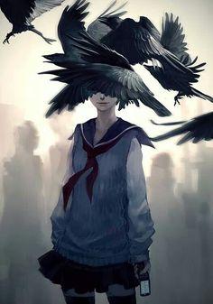 Anime, menina do anime, arte do fã, medo, sem medo, gore, horror, monocromático, corvos, giulimaster