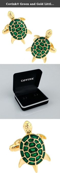 Covink® Green and Gold Little Turtle Tortoise Cufflinks with a Gift Box. Specification: weight: about 20 g Material: Brass, high-grade stainless steel plating Perfect for any occasions: Office, Meetings, Events, Anniversaries etc, elevating fashionable image to your personal appearance. Fine polished, with highest quality made of solid, surgical metal setting for the everlasting shine.