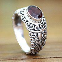 Garnet solitaire ring, 'Bali Heritage'