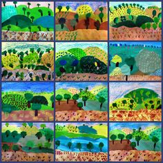 Grant Wood: Down on the Farm – Painted Paper Art – Kunstunterricht Grant Wood, Art Lessons For Kids, Art Lessons Elementary, Art For Kids, Art Education Lessons, Landscape Art Lessons, Arte Elemental, Art Grants, Farm Paintings