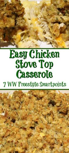 Easy Stove Top Casserole with Weight Watcher Break down is the perfect weeknight. - Cook Eat Go Casserole Recipes - Easy Stove Top Casserole with Weight Watcher Break down is the perfect weeknight casserole to make y - Stove Top Chicken Casserole, Chicken And Dressing Casserole, Chicken Casserole With Stuffing, Chicken Stove Top Stuffing, Chicken Cassarole, Pecan Cobbler, Stuffing Recipes, Casserole Recipes, Taco Casserole