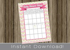 Baby Shower Bingo Game Cards funky pink chevron INSTANT DOWNLOAD diy digital printable file print your own , babyshower