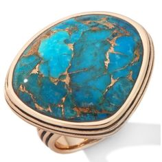 Studio Barse Freeform Turquoise and Metal Matrix Bronze Ring at... ($40) ❤ liked on Polyvore featuring jewelry, rings, accessories, anillos, blue, turquoise rings, blue jewelry, metal jewelry, bronze jewelry and barse rings