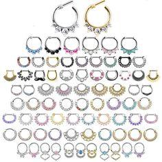 Gem Septum Ring - CZ Daith Ear Earring Nose Pierced Clicker 140+ Designs/Colours