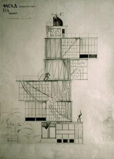 Melnikov K.Moscow Bureau of the Newspaper LENINGRAD PRAVDA  1924    Read more: http://www.architecture-balar.com/2011/04/constructivist-architecture-and-designs.html#ixzz1k2FZT5bv