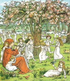 The Pied Piper continues to play his magic tune after leading the children of Hamelin to that happy world of blissful paradise inside the Koppen mountain. The children are playfully frolicking in the forest and dancing around a tree together. Kate Greenaway - The Pied Piper