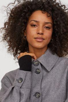 Wool-blend Blouse Jacket - Grey melange - Women | H&M US 2