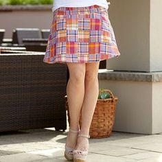 Ladies Purple Orange Pink Plaid Skirt