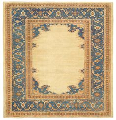 Bakshaish Camelhair, 9ft 6in x 9ft 11in, 3rd Quarter, 19th Century. Along with its arresting, organically contoured designs and virtuoso use of natural undyed camelhair, this 150-year-old Bakshaish carpet boasts dexterous rendering and an especially harmonious color palette. An open field is totally devoid of ornamentation, rather is entirely given over to the natural striation of pure camelhair. An elegant, nuanced filigree provides a counterpoint in the surrounding cornerpieces and…