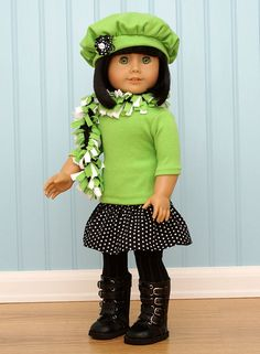 Black and Green Doll Outfit.