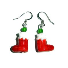 Red Christmas Stocking Lampwork Beaded by CloudNineDesignz on Etsy, $12.00