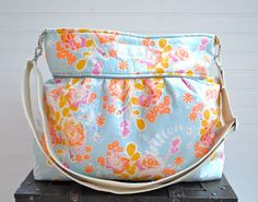 Blue and Orange Floral Large Diaper Bag  - Stroller Bag - Bags and Purses - Baby Bag SKU: DB005BOF01 FREE SHIPPING