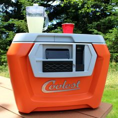 Cooler with usb port, detachable speakers that pair with your smart phone, and blender for crushed ice drinks, cutting board and knife, and built in bottle opener what more could you want out of a cooler?