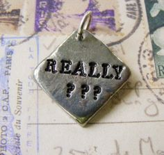 Rustic Pewter Hand Stamped Pendant  Really Silver by meiguidesigns