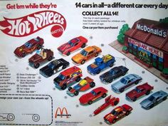 The 25 Greatest Happy Meal Toys Of The Hot wheels Vintage Hot Wheels, Polly Pocket, Cola Dose, Mcdonalds Toys, Matchbox Cars, Hot Wheels Cars, Childhood Toys, Plastic Model Kits, Classic Toys