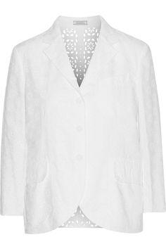 NINA RICCI Broderie Anglaise Cotton Blazer. #ninaricci #cloth #blazer
