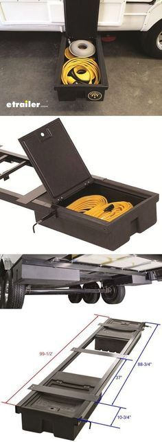 Need extra storage space for your RV? Stow supplies, tools, and equipment with this storage unit that mounts beneath your RV or trailer chassis.
