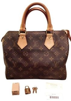 Louis Vuitton Monogram Canvas Speedy 25 Brown Tote Bag $552