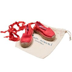 Lovely coral espadrilles with strap to tie up leg to secure. Comes in cute…