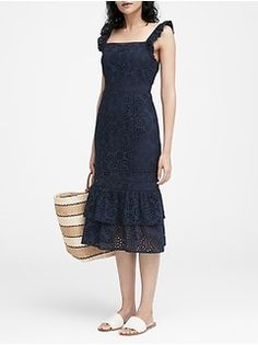 Inspired by the romance of the prairie, this midi-length dress has delicate lace accents and a pinafore-style, square neck. Invisible zip at side. Elegant Dresses, Casual Dresses, Women's Dresses, Summer Dresses For Women, Dresses For Work, Pinafore Dress, Luxury Dress, Modern Outfits, Fashion Outfits