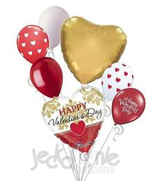 7 pc Gold & Red Damask Hearts Valentines Day Balloon Bouquet Be Mine Love You