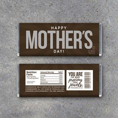 """Happy Mother's Day printable candy bar wrappers! Great last minute Mother's Day gift idea! Designed to fit 1.55 oz Hershey's chocolate bars and includes the scripture, """"You are far more precious than jewels. - Proverbs 31:10"""". Instant download by Studio 120 Underground, $5."""