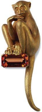 ['Brooch Monkey,' 2003, a piece of jewelry by Stefan Hemmerle.]