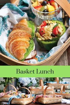 Plan a picnic amid awakening flora and fauna by packing a lovely linen-lined basket with croissant sandwiches and fresh, flavorful salads.