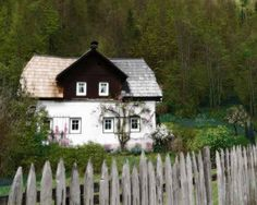 Vine Covered Cottage with Rustic Wooden Picket Fence - Fine Art Photo - White - Brown Green