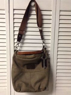 Fossil Canvas Leather Large Brown Crossbody Purse Messenger Bag Durable Classic! #Fossil #MessengerCrossBody
