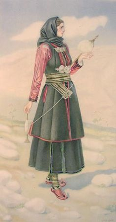 40 - Peasant Woman 's Dress (Epirus) Greek Traditional Dress, Traditional Fashion, Costume Shop, Folk Costume, Historical Costume, Historical Clothing, Ancient Greek Costumes, Greek Dancing, Greek Dress