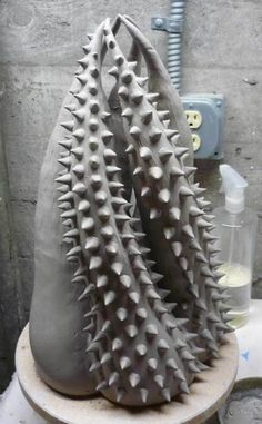 Ceramic Sculpture in progress, adding spikes - progression by JadeFlower
