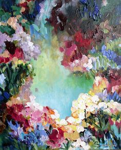 Love Impressionism and the colors in this one. Sunshine Tree Painting/ 20 x 24 Abstract impressionist impasto pallette knife Fine Art by Elaine Cory