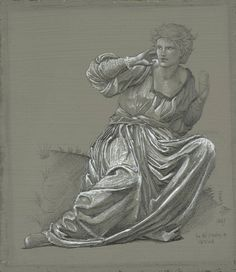 Sir Edward Coley Burne-Jones - Study of a Seated Woman for 'The Passing of Venus, 1887