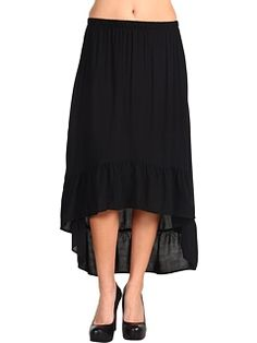 Lucy Love Hi-Lo Solid Maxi Skirt Black - Zappos.com Free Shipping BOTH Ways - StyleSays
