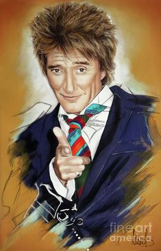 Mixed Media - Rod Stewart by Melanie D , Celebrity Caricatures, Celebrity Portraits, Rod Steward, Cute Piglets, Play That Funky Music, Samantha Pics, Teen Celebrities, Caricature Drawing, Famous Singers