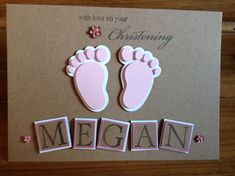 Personalised christening card girl by ShellBellCards on Etsy